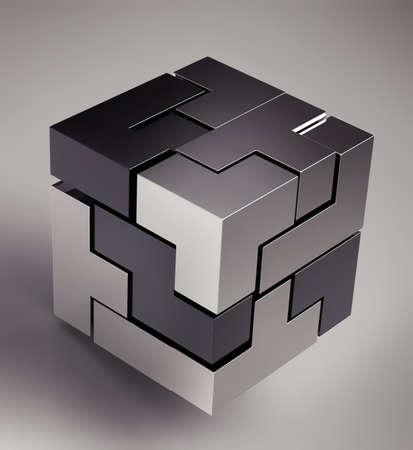 cube puzzle: black 3d futuristic cube