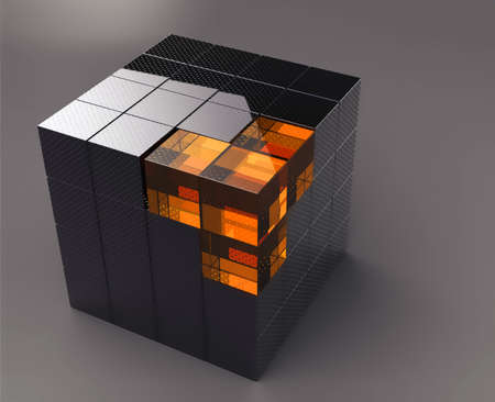 metal box: black 3d futuristic cube