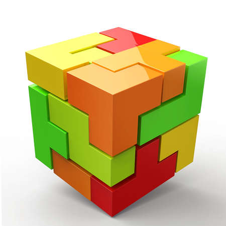 changing color: 3D Cubes colored abstraction