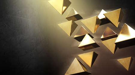 Golden 3D pyramids photo