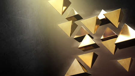 triangle shape: Golden 3D pyramids