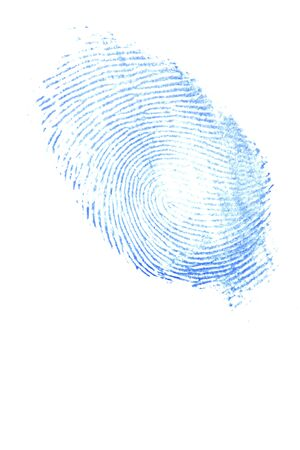 a thumb finger print of a lady in blue ink isolated on a white background