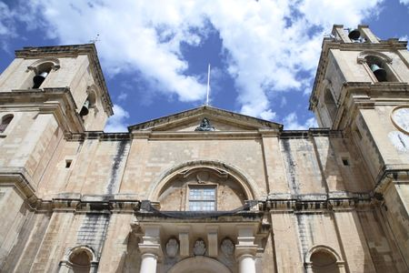 front entrance of the grand cathedral of st. johns in valletta, malta