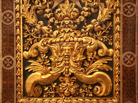 gold detail of the walls inside the cathedral of st. johns in valletta, malta Archivio Fotografico