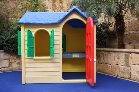playhouse: plastic toy house life size for kids Stock Photo