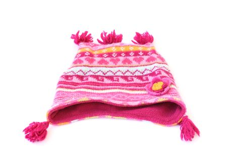beanie: patterned woolen beanie isolated on a white background Stock Photo