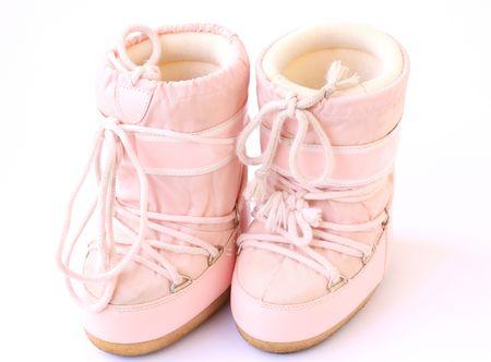 par los niños van de botas de nieve, también conocido como Luna arranca aislado en un fondo blanco
