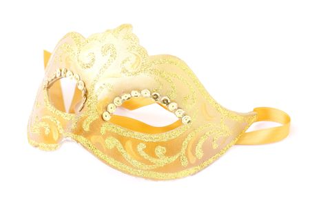 masquerade female gold mask isolated on a white background Stock Photo