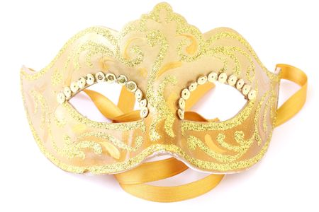 masquerade female golden theatrical mask isolated on a white background Stock Photo