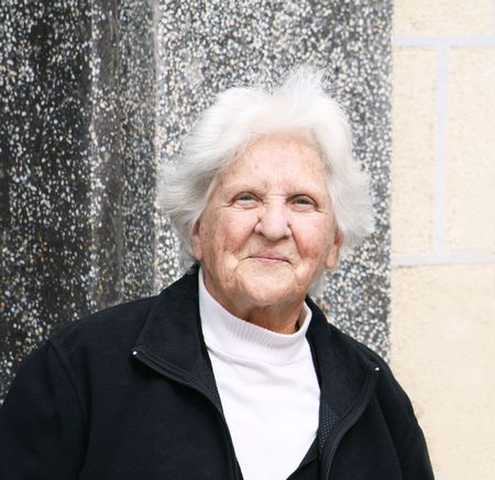 contentment: portrait of a smiling old caucasian woman  Stock Photo