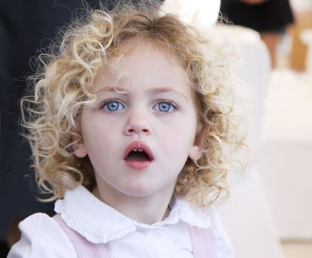 portrait of a pretty toddler with blue eyes and blonde curly hair