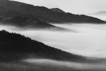 pacification: View of foggy ranges in black and white