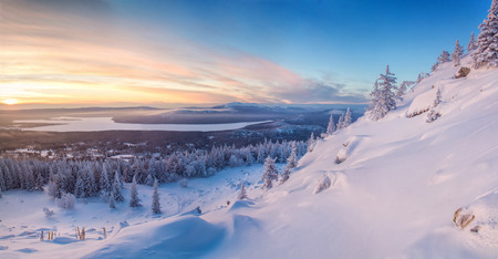 snowfield: Landscape with cold and warm colors with mountains, forest and snowfield