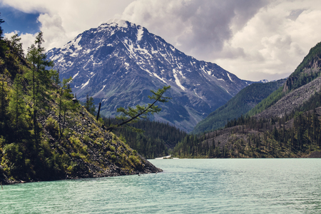crooked: Chain of rocky peaks, azure lake and crooked tree on the shore