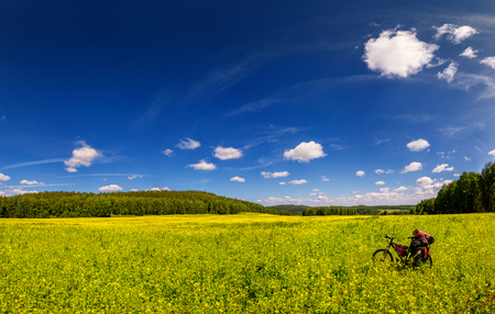 Mountain bike on green meadow Stock Photo