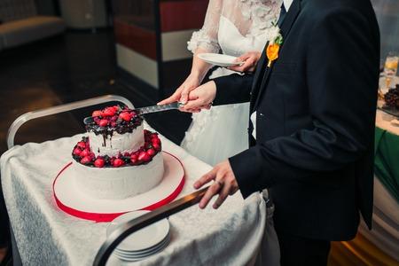 raspberry dress: Bride and Groom Cutting the Wedding Cake