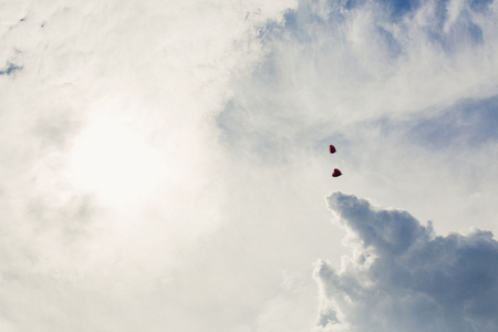 fondness: Two heart-shaped balloon in sky with clouds