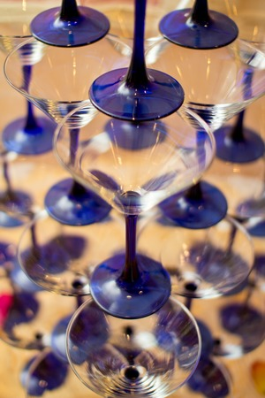 caterers: Cascade of champagne blue glasses