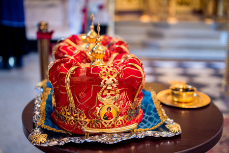 bible altar: Two wedding crowns in the church Stock Photo
