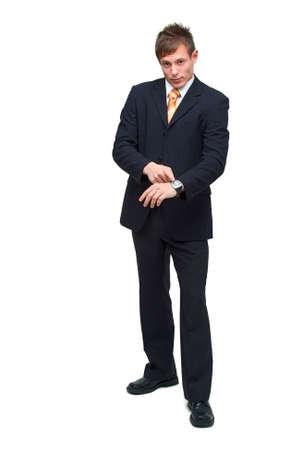 retardation: Waiting joung businessman showing  Stock Photo