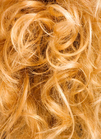 flaxen: Blonde curly hair - background texture Stock Photo