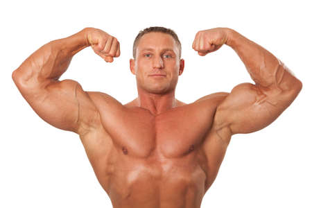 testépítő: Attractive male body builder, demonstrating contest pose, isolated on white background