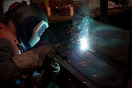 welded: Factory welder doing his job