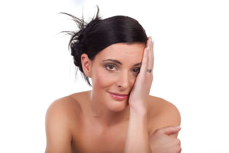 Young beautiful woman melancholic isolated on white background Stock Photo - 7078904