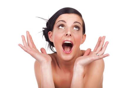 femme bouche ouverte: Portrait de jeune surpris isolé sur fond blanc Banque d'images