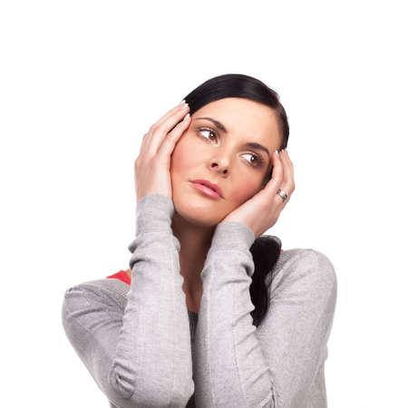Portrait of sad woman - isolated on white background photo