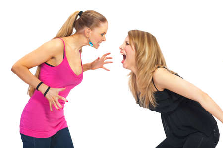 Two young woman in conflict - isolated Stock Photo - 7589727