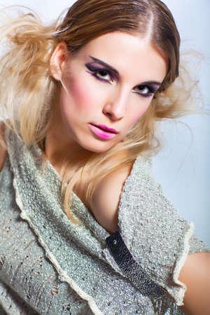 Portrait of young beautiful fashion model