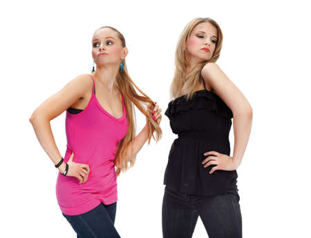 Two young woman in conflict - isolated Stock Photo - 7592147