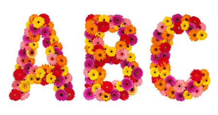 Letter A B C - flower alphabet isolated on white background Фото со стока