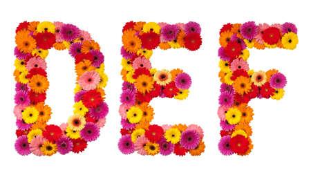 Letter D E F - flower alphabet isolated on white background
