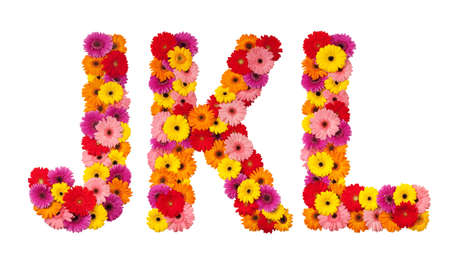 Letter J K L - flower alphabet isolated on white background Фото со стока