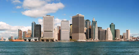 usa cityscape: Panoramic view of lower Manhattan skyline, New York City  Stock Photo