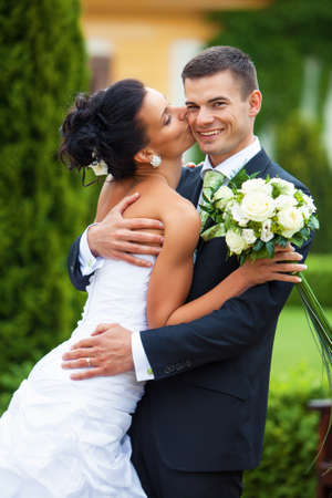 Happy young couple just married  photo
