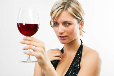 vino: Young woman holding red wine - white background