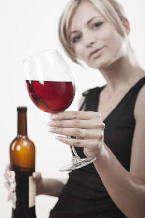 hang body: Young woman with red wine - white background