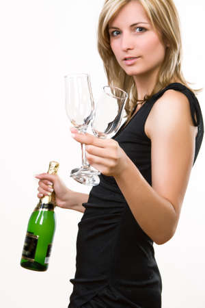 celebrating female: Young woman offering drink - white background