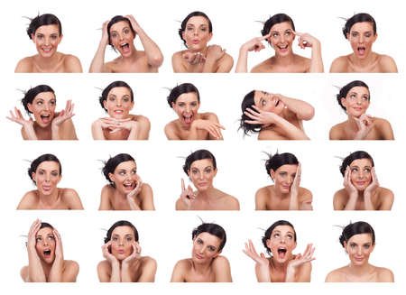 expresiones faciales: Mujer joven que muestra varias expresiones, aislado en fondo blanco.
