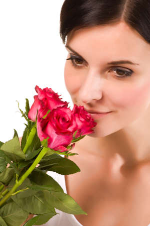 Youmg beautiful women with red roses 版權商用圖片
