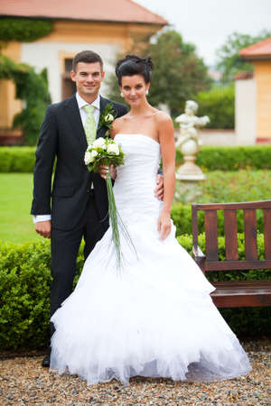 beautiful bride: Happy young coupple just married Stock Photo