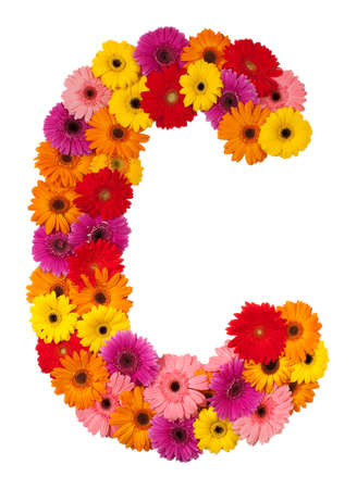 Letter C - flower alphabet isolated on white background photo