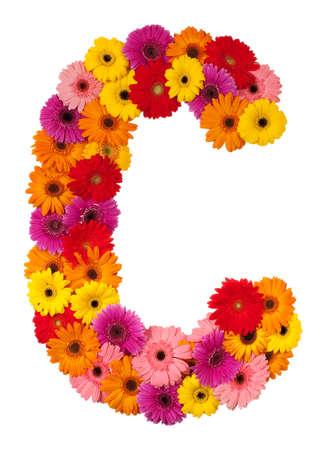 Letter C - flower alphabet isolated on white background