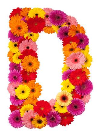 Letter D - flower alphabet isolated on white background
