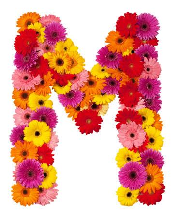 Letter M - flower alphabet isolated on white background