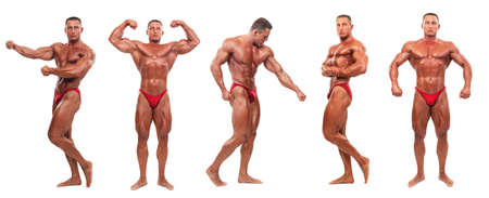 naked male body: Attractive male body builder, demonstrating five contest poses, isolated on white background Stock Photo