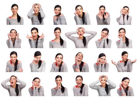 expresiones faciales: Mujer joven que muestra varias expresiones, aislado sobre fondo blanco.